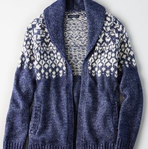 Womens American Eagle Fair Isle Cardigan Sweater L